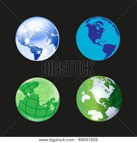 Globe world icon 3d set