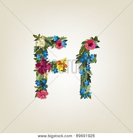 F letter. Flower capital alphabet. Colorful font. Uppercase and Lowercase. Vector illustration.