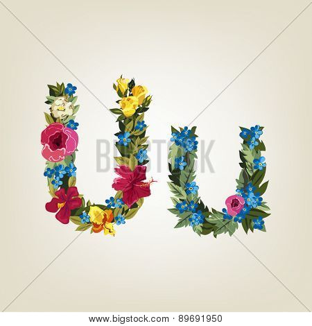 U letter. Flower capital alphabet. Colorful font. Uppercase and Lowercase. Vector illustration.