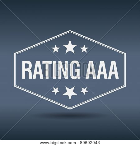 Rating Aaa Hexagonal White Vintage Retro Style Label
