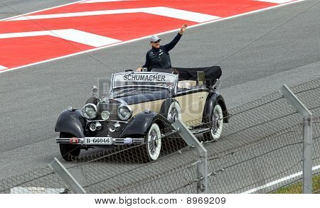 BARCELONA- MAY 9: Michael Schumacher of Mercedes GP on parade of pilots before a stage of race the F