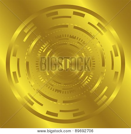 Golden Abstract technology circle background