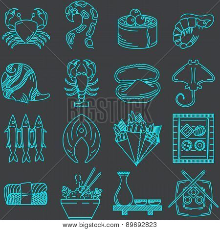 Seafood line icons vector collection