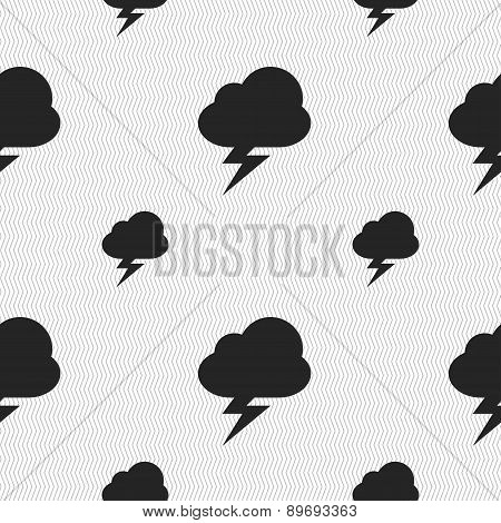 Storm Icon Sign. Seamless Pattern With Geometric Texture. Vector