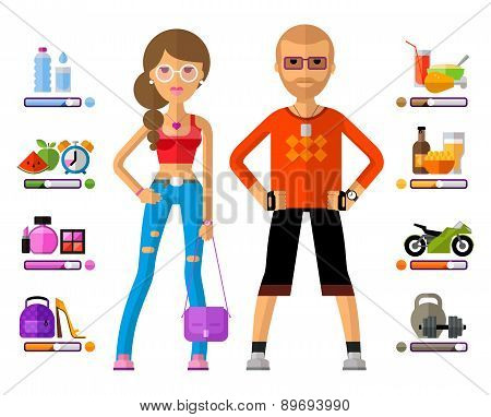 man and woman vector logo design template. girl, guy or young people icon.