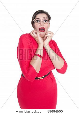 Scared Plus Size Woman In Glasses Isolated