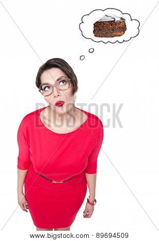 Beautiful Plus Size Woman In Glasses Dreaming About Cake
