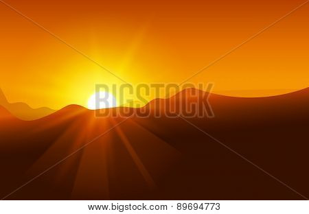 Abstract yellow sunset with defocused lights
