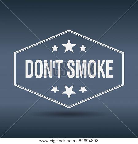 Don't Smoke Hexagonal White Vintage Retro Style Label