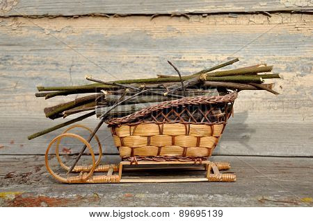 Decorative Wooden Sledge With Branches
