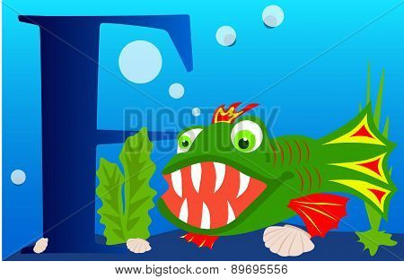 Illustrated alphabet letter F and fish