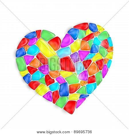 Heart Is Composed Of Multi-colored Stones