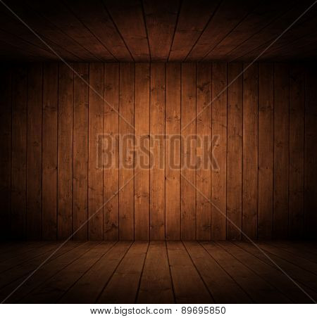 dark grunge wooden interior room. with space for your text or picture.