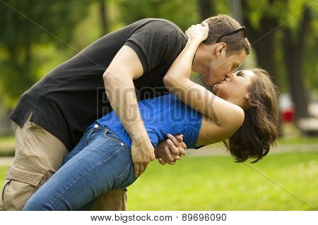 Young couple in love, outdoor,in love,kissing and embracing