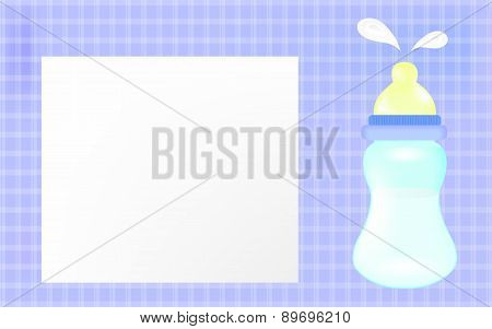 Baby boy shower card. Blue background as greeting card for newborn.