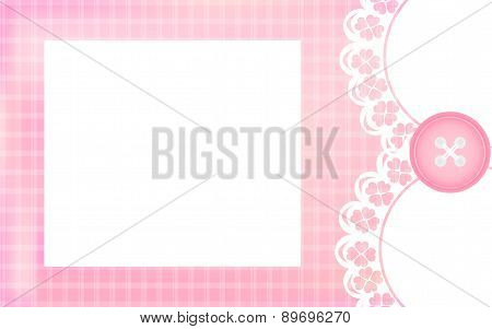 Baby girl shower card. Pink background as greeting card for newborn.