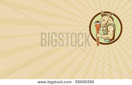 Business Card Donkey Plumber Monkey Wrench Circle Retro