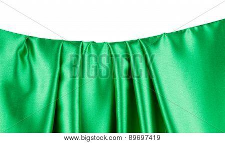 Green silk texture cloth. Close up.