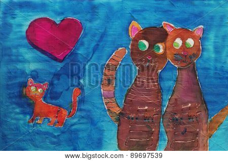 Children's Drawing Of Cat Family