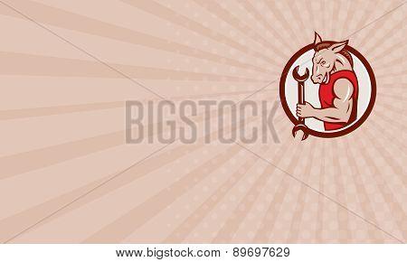 Business Card Donkey Mechanic Spanner Mascot Circle Retro