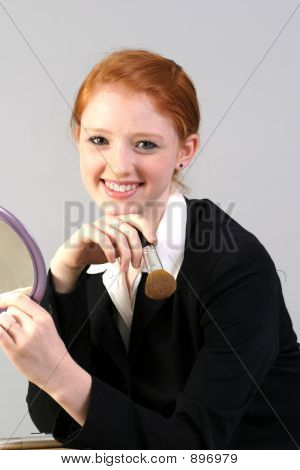 Smiling Professional Woman Getting Ready
