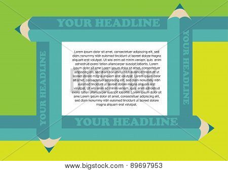 Creative Green Color Pencils Border Frame For Page Layout