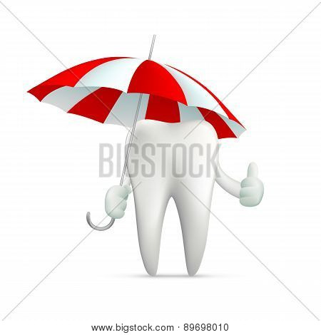 Human Tooth Holding An Umbrella