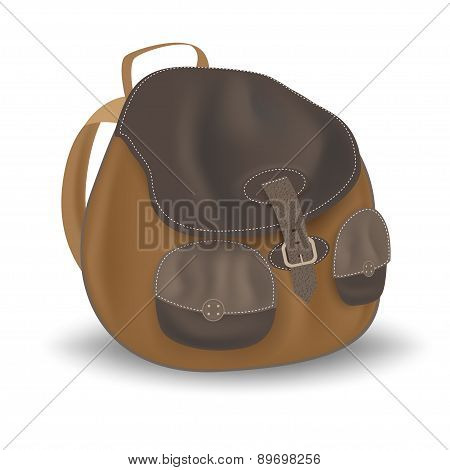 backpack on white background. Vector illustration with mesh