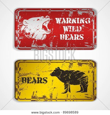 Old metal plate with bear