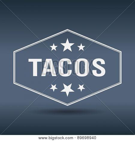Tacos Hexagonal White Vintage Retro Style Label