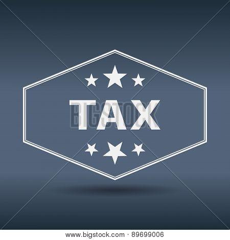 Tax Hexagonal White Vintage Retro Style Label
