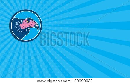 Business Card Vulture Head Circle Retro