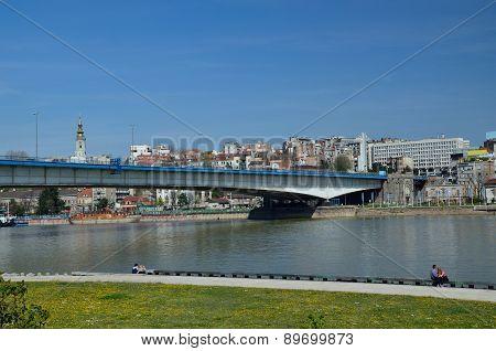 Belgrade City Bridge With Panorama