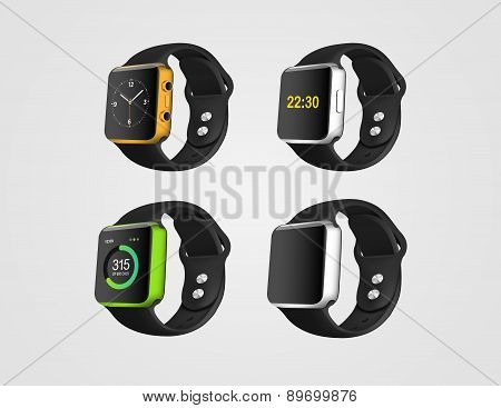 Set Of The Smart Fitness Watches