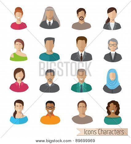 flat characters icons set