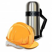 picture of thermos  - Lunch break concept with thermos and helmet isolated on white background - JPG