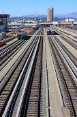 pic of railroad yard  - Railroad tracks with rail cars at a rail yard taken in Los Angeles - JPG