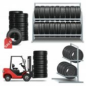 stock photo of lifting-off  - Tire Shop Icons including tires - JPG