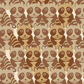 image of raccoon  - Funny cute raccoon seamless background pattern - JPG