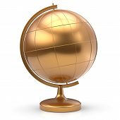 Постер, плакат: Globe Blank Golden Planet Earth Global Geography Symbol