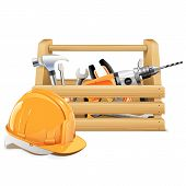 pic of overhauling  - Wooden toolbox with helmet  isolated on white background - JPG
