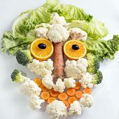 image of olive shaped  - Face shape out of vegetable and fruit - JPG