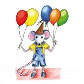 image of mouse  - Little mouse child with many birthday balloons - JPG