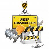 foto of crane hook  - Under Construction Concept with frame - JPG