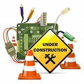 stock photo of cone  - Under construction concept with yellow sign - JPG