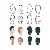 stock photo of gender  - Set of gender portraits four versions of man and woman front and profile portraits - JPG