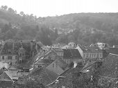 Black And White View Of A Medieval Town poster