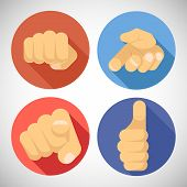 pic of fist  - Open Palm Pleading Giving Pointing Finger Tumbs Like Punchinf Fist Icon Symbols Concept Flat Design Vector Illustration - JPG