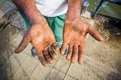 pic of callus  - Worker is showing his chapped hands dirty and injured palms - JPG