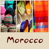 picture of ironworker  - colorful collage and composition of objects or typical places of Morocco - JPG